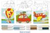 Cartes sable thème MOYENS DE TRANSPORT + 8 tubes de sable - Sable coloré - 10doigts.fr
