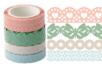 Dentelle adhésive en papier - 4 rouleaux pastel - Adhésifs colorés et Masking tape – 10doigts.fr