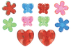 Méga strass fleurs, papillons et coeurs - 18 strass - Décorations Fleurs - 10doigts.fr