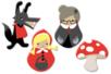"""Motifs """"Chaperon rouge"""" en bois décoré - Set de 8 - Motifs peints - 10doigts.fr"""