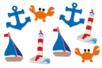 """Motifs """"La mer 2"""" en bois décoré - Set de 8 - Motifs peint - 10doigts.fr"""