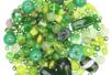 Perles artisanales en verre - camaïeux de verts - Perles en verre - 10doigts.fr