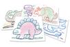Plaques dessin relief dinosaures mignons - Set de 6 - Plaque relief – 10doigts.fr
