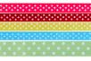 Rubans à pois multicolores - Set de 5 - Rubans et ficelles - 10doigts.fr