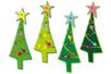 Set de 8 sapins bigarrés Noël en bois décoré 4,5 x 1,6 cm - Motifs peint - 10doigts.fr