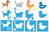 Pochoirs ANIMAUX - Set de 8 - Pochoirs Animaux – 10doigts.fr