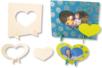 Set de 2 cadres rectangulaires coeur, en bois naturel à décorer - Cadres, tableaux – 10doigts.fr