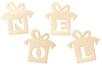 """Cadeaux """"NOEL"""" en bois naturel - Set de 4 - Décorations de Noël en bois - 10doigts.fr"""