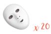 Masques blancs, taille enfant - Lot de 20 - Mardi gras, carnaval 10526 - 10doigts.fr