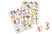 Gommettes animaux rigolos 1 - 3 sets (6 planches) - Gommettes Animaux 18491 - 10doigts.fr