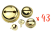 Grelots dorés Ø 1,2 - 1,8 - 2 et 3 cm - 43 pièces - Grelots et clochettes 09524 - 10doigts.fr