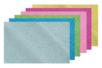 Caoutchouc souple pailleté adhésif  - Set de 6 plaques (or + argent + bleu + rose + fuchsia + vert) - Caoutchouc souple auto-adhésif - 10doigts.fr