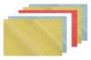 Caoutchouc souple pailleté adhésif  - Set de 6 plaques (2 or + 2 argent + 1 rouge + 1 blanc) - Tous les papiers adhésifs - 10doigts.fr