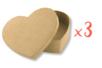 Boîtes cœur 13 x 10 cm - H : 3,5 cm - Lot de 3 - Boîtes en carton - 10doigts.fr