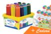 Coffret de 108 maxi crayons de couleur GIOTTO Méga + CADEAU d'une fresque géante + 16 toupies à colorier - Crayons de couleurs 33155 - 10doigts.fr
