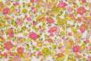 Coupon de tissu en coton imprimé ( 43 x 53 cm )- Fleuris rose et jaune - Coupons de tissus 30113 - 10doigts.fr