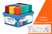Feutres grosses pointes GIOTTO - Schoolpack 108 feutres + cadeau 1 fresque géante à colorier - Feutres pointes larges 33158 - 10doigts.fr