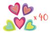 Lot de 4 sets de 10 stickers coeurs feutrine 4,5 cm  - Formes en Feutrine Autocollante 32089 - 10doigts.fr