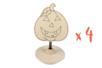Marque-place citrouille en bois - Lot de 4 - Halloween 28034 - 10doigts.fr