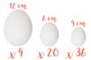 Promo : Oeufs moyens et grands  -62 oeufs : Tailles 12 cm (x 4) + 6 cm ( x 20) + 4 cm ( x 36) - Supports de Pâques à décorer 13225 - 10doigts.fr