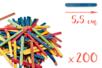 Bâtons d'esquimaux coloré 5,5 cm - Lot de 200 - Bâtonnets, tiges, languettes - 10doigts.fr