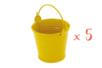 Mini seaux en métal jaune - Lot de 5 - Supports en Métal 11764 - 10doigts.fr