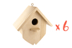Nichoir en bois à à suspendre 15 cm - Lot de 6 - Nichoirs 32224 - 10doigts.fr