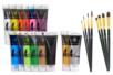 Peinture acrylique - Set de 14 tubes 75 ml (or et argent inclu) + CADEAU : 1 set de 8 pinceaux (4 brosses plates + 4 pinceaux ronds)  à poils synthétiques - Acryliques scolaire 14354 - 10doigts.fr