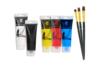 Peinture acrylique - Set de 5 tubes 75 ml : jaune, rouge, bleu clair, noir et blanc + CADEAU : 1 set de 3 brosses plates à poils synthétiques - Acryliques scolaire - 10doigts.fr