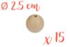 Perles bois 2,5 cm / Ø trou 6 mm- 15 perles - Perles en bois - 10doigts.fr