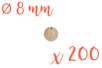 Perles bois 0,8 cm / Ø trou 2 mm - 200 perles - Perles en bois - 10doigts.fr