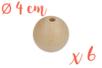 Perles bois 4 cm / Ø trou 7 mm- 6 perles - Perles en bois 35011 - 10doigts.fr