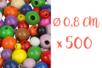 Perles rondes en bois couleurs assorties Ø 0,8 cm - 500 perles - Perles en bois 03833 - 10doigts.fr