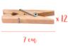 Pinces à linge 7 cm - Lot de 12 - Pinces à linge en bois brut 06208 - 10doigts.fr
