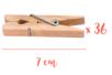 Pinces à linge 7 cm - Lot de 36 - Pinces à linge en bois brut 06210 - 10doigts.fr
