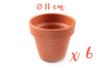 Pots en terre cuite Ø 11 cm - Hauteur 10 cm - 6 pots - Supports en Céramique et Terre Cuite 04044 - 10doigts.fr