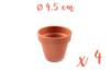 Pots en terre cuite Ø 4,5 cm - Hauteur 4 cm - 4 pots - Supports en Céramique et Terre Cuite 06726 - 10doigts.fr