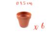 Pots en terre cuite Ø 4,5 cm - Hauteur 4 cm - 6 pots - Supports en Céramique et Terre Cuite 04040 - 10doigts.fr