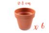 Pots en terre cuite Ø 8 cm - Hauteur 7 cm  - 6 pots - Supports en Céramique et Terre Cuite 04043 - 10doigts.fr