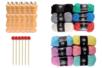 6 tricotins manuels avec aiguilles + 12 pelotes de laine  - Tricotins 38348 - 10doigts.fr