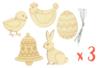 Formes de Pâques en bois gravé - Lot de 15 - Kits activités Pâques 34035 - 10doigts.fr