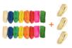 Bottes Raphia 50 gr : 5 naturels + 2 jaunes, 2 fuchsias, 2 verts foncés, 2 oranges, 2 rouges, 2 bleus, 2 verts clairs - 19 bottes - Paille et Raphia 11143 - 10doigts.fr