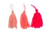 Pompons long en laine camaïeu rose - 3 pompons - Pompons 41030 - 10doigts.fr
