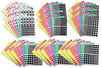 Maxi set de gommettes :  Rondes (54 planches) + carrées , rectangles et triangles (18 planches de chaque)  = 108 planches - Toutes les gommettes géométriques 01729 - 10doigts.fr