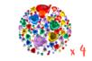 Strass coeurs couleurs assortis - 4 sets (1800 strass)  - Strass 19003 - 10doigts.fr