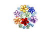 Strass fleurs multicolores – 1 set (200 strass) - Strass 13346 - 10doigts.fr