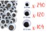 Yeux mobiles noirs :  Ø 8 mm (x 240) + Ø 1 cm (x 120) + Ø 1,2 cm (x 104) - 464 yeux - Yeux mobiles 12744 - 10doigts.fr