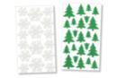 Stickers sapins et flocons pailletés - 40 stickers - Formes en Mousse autocollante - 10doigts.fr