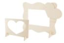 Cadres 2 en1 - Formes vague + coeur - Cadres photos en bois - 10doigts.fr