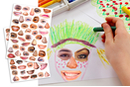 Gommettes visages réalistes et rigolos - 2 planches - Gommettes Yeux et Visages - 10doigts.fr